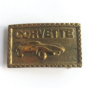 Other - Vintage Original Solid Brass Corvette Belt Buckle